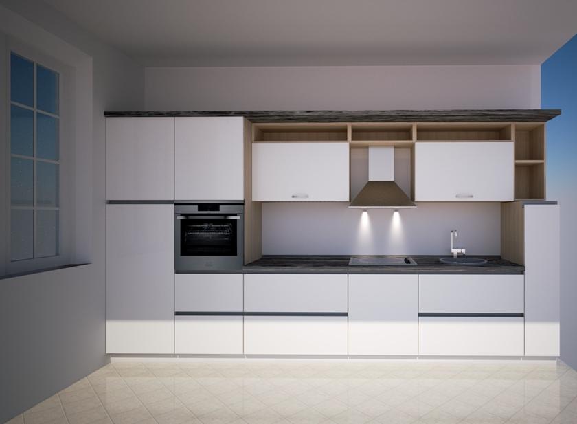 cucina bianca con maniglie in alluminio integrate - Benigni Mobili
