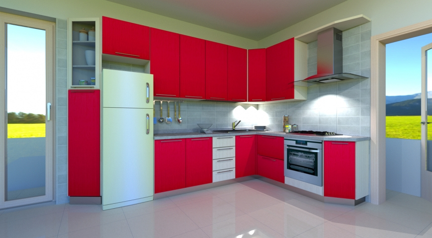 cucina ad angolo con ante laccate rosso e struttura rovere ...