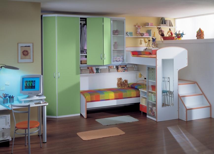 Soppalco con letto inferiore e armadio con ante a libro - Letto con soppalco ...