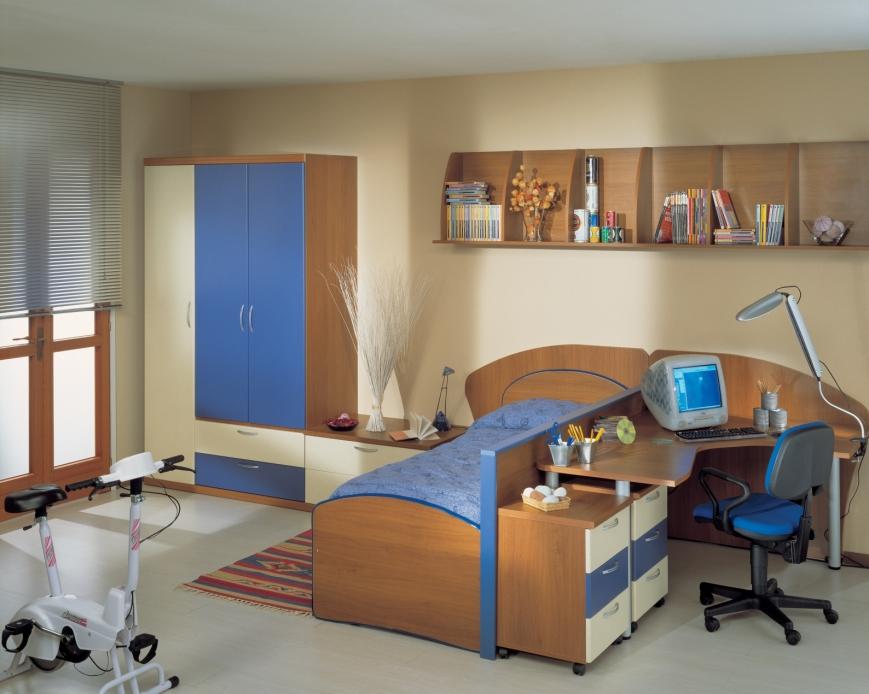 Cameretta Bianca E Blu : Cameretta struttura noce e ante mandorle blu avio benigni mobili