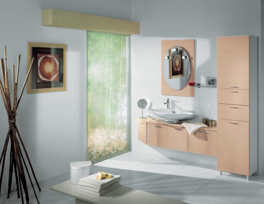 Mobile bagno semi sospeso in nobilitato bianco/rovere   benigni mobili