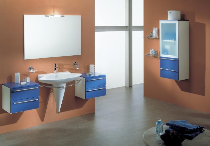mobile bagno sospeso bianco/blu avio - Benigni Mobili