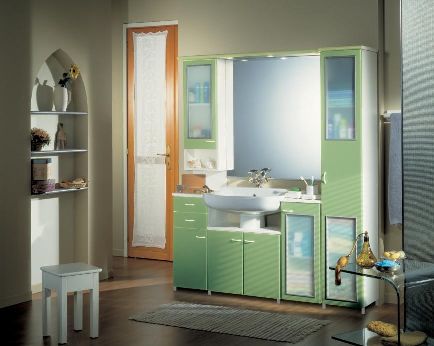 Mobili bagno per lavabo con colonna design casa creativa - Bagno verde mela ...