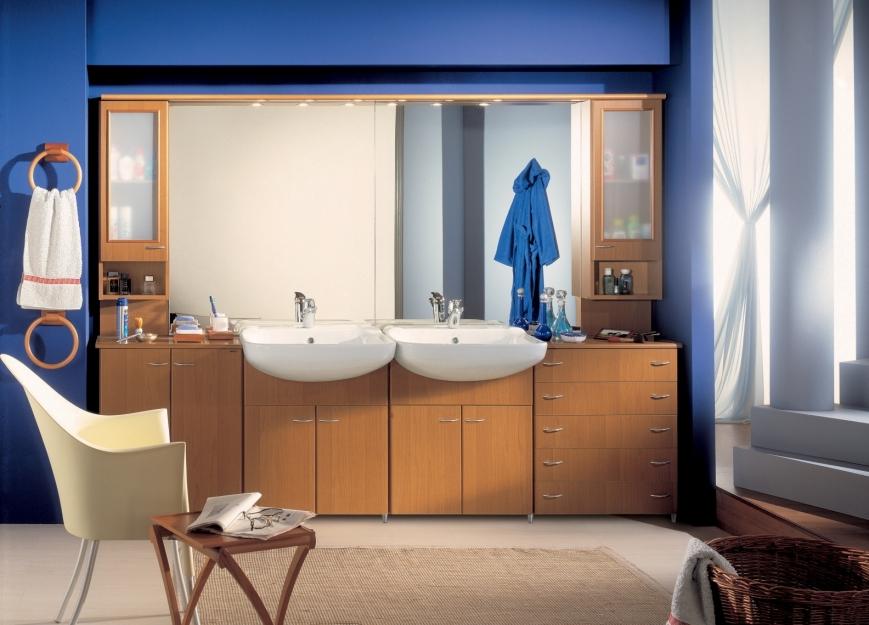 Mobile bagno in noce e con doppio lavabo benigni mobili - Bagno doppio lavandino ...
