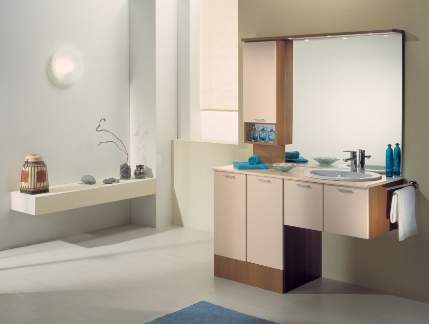 Mobile bagno con vano portalavatrice in noce mandorla - Lavatrice in bagno soluzioni ...