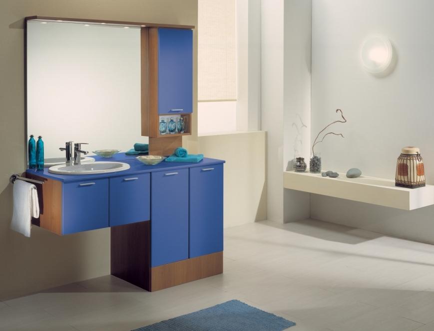 Mobile bagno con portalavatrice noce blu avio benigni mobili