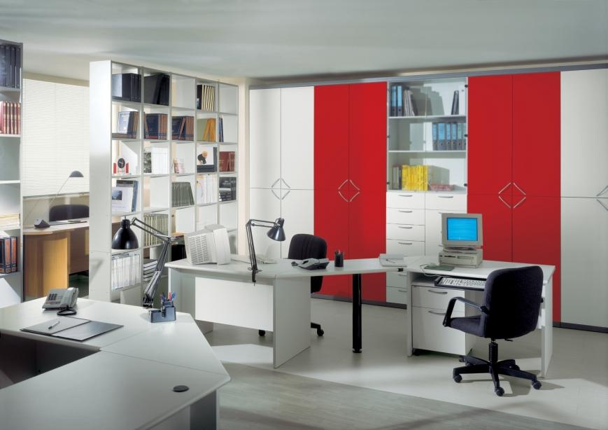 Ufficio operativo in grigio rosso benigni mobili for Arredamento grigio
